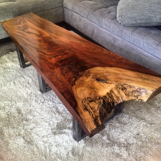Slab Burl Wood Organic Vintage California Coffee Table At: Tropical Exotic Hardwoods