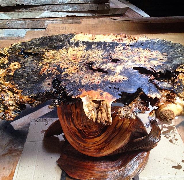 Buckeye burl 2 cap tropical exotic hardwoods for Finished wood slabs